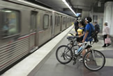 cyclist in metro